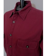 St Johns Bay Fleece Lined Shirt Jacket Burgundy Red Cotton Size L Large *s2 - $24.70