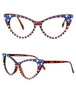 Crystal American Flag July 4th USA Independence Day Cat Eye Clear Lens S... - $42.66 CAD