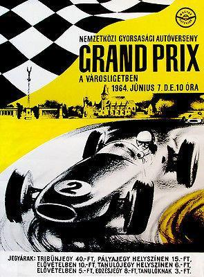 Primary image for 1964 Hungarian Grand Prix Race - Promotional Advertising Poster