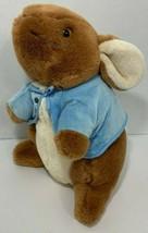 Peter Rabbit Large Plush bunny stuffed animal Eden ears down blue jacket spots - $11.57