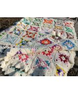 Vintage Hand Made Afghan Granny Squares Cream Crochet Throw Blanket Quil... - $130.00