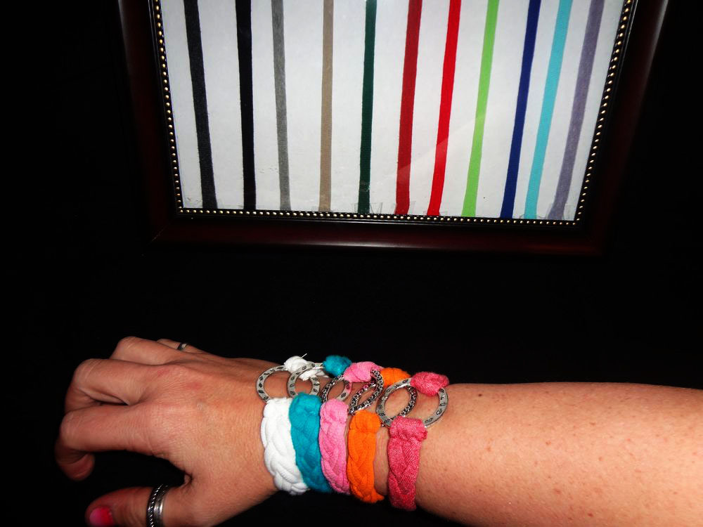 Braided Friendship Ring Bracelet made from Recycled T-shirts Many Colors