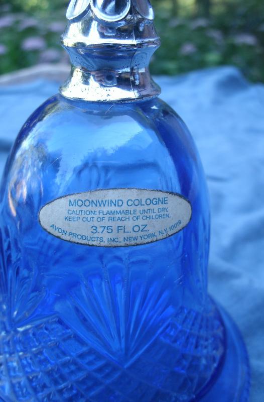 Vintage Avon Blue Bell  Bottle -1976,blue glass,silver handle w/pineapple design