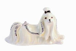 Ciel Collectables 1013047 Maltese Dog Enamel White Decorative Trinket Bo... - $34.97