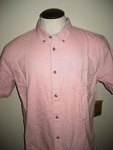 Vans Mens Houser SS Button up Shirt Light Pink Blue Accent Large Free Ship NWT - $34.64