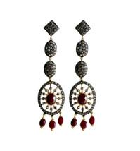 Victorian 4.02ct Rose Cut Diamond Ruby Women's Dangler Bridal Earrings - $701.02