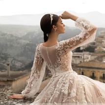 Gorgeous Designer Customized Appliqued A-Line Long Sleeve Vintage Wedding Dress image 4