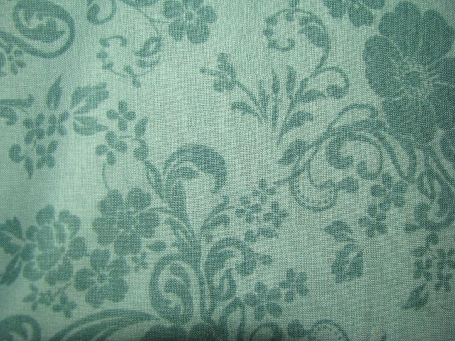 Marie Osmond  Teal Blue on Teal Blue  Floral Cotton Fabric 1 yard