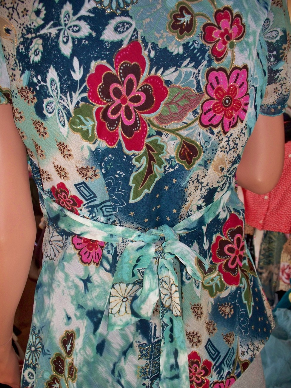 M Medium Dress Barn Green Blue Floral TOP SHIRT PULLOVER LONGER LENGTH Tunic