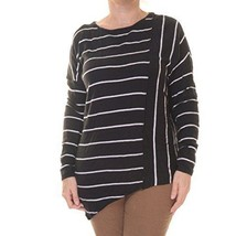 INC, Women's, Asymmertric Striped Pullover Sweater, Deep Black, Sz. S/M - $34.40