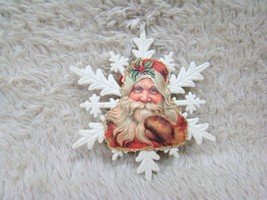 Glittery Snowflake Happy Santa Faced Hanging Christmas Tree Ornament, Ho... - $8.49