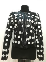Round Neck Black White Genuine Leather Leaf Jacket Womens All Sizes Zip ... - $115.00