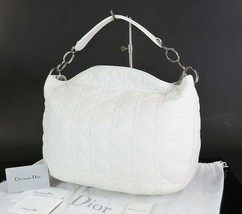 Authentic CHRISTIAN DIOR White Quilted Leather Tote Hand Bag Purse #34734 - $649.00