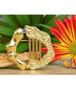 Vintage Rachel Gera Brooch Pin 1984 Israel Modernist Gold Harp Judaica - $28.95