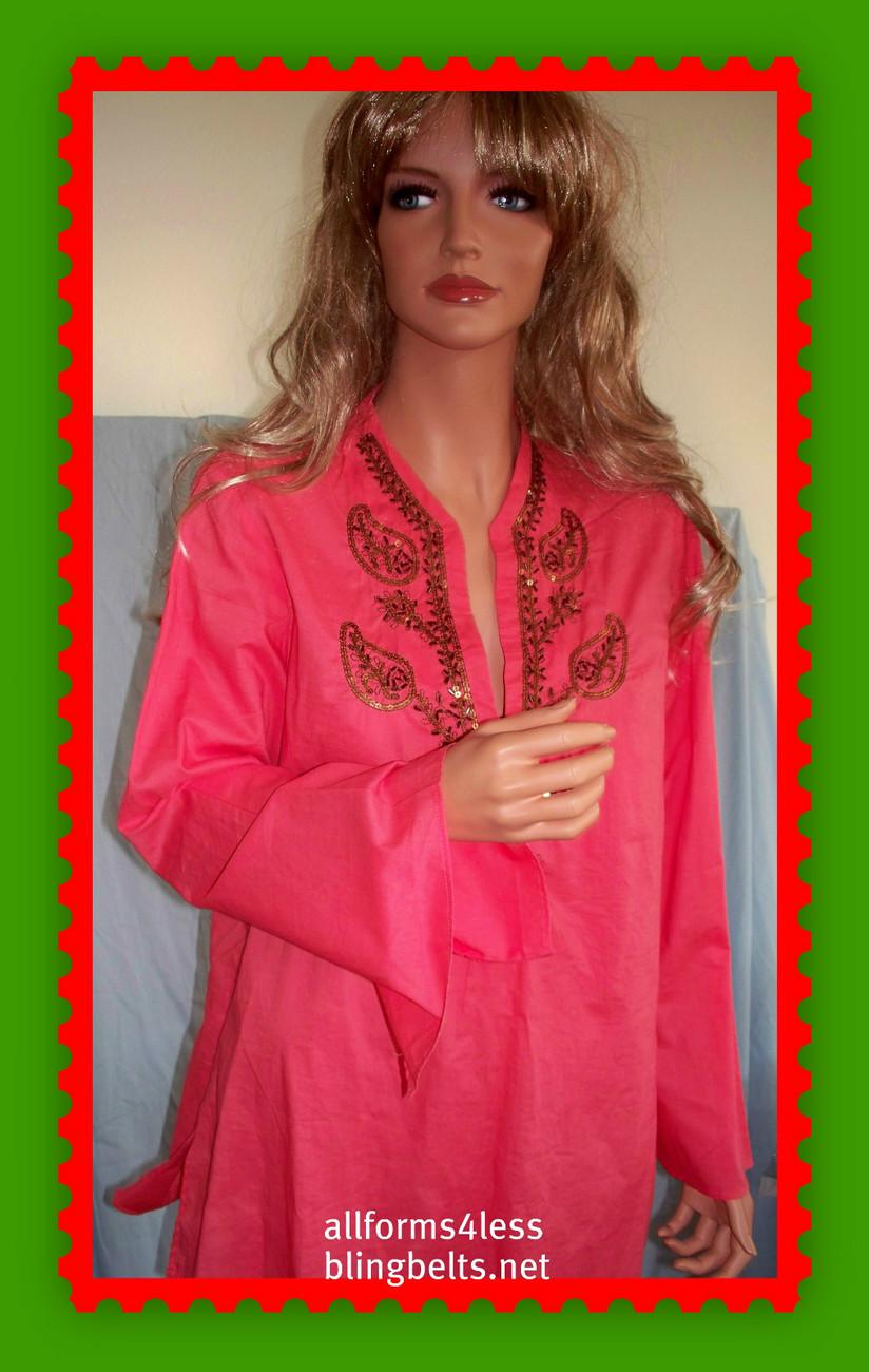 NEW Ret$69 M MEDIUM Boho COTTON Embellished TUNIC PULLOVER SHIRT TOP CHOICE OF 1