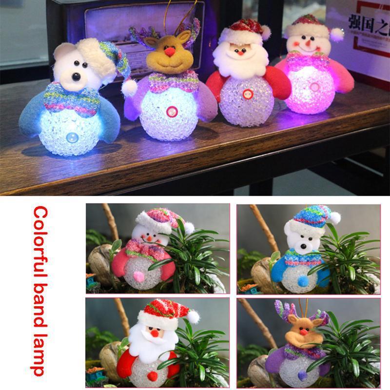 (deer)New Year Gifts Luminous Snowman Elk Pendant Gift for Children Chris