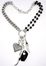 925 Silver Necklace, Double Onyx, Chain Dangle, Heart worked image 2