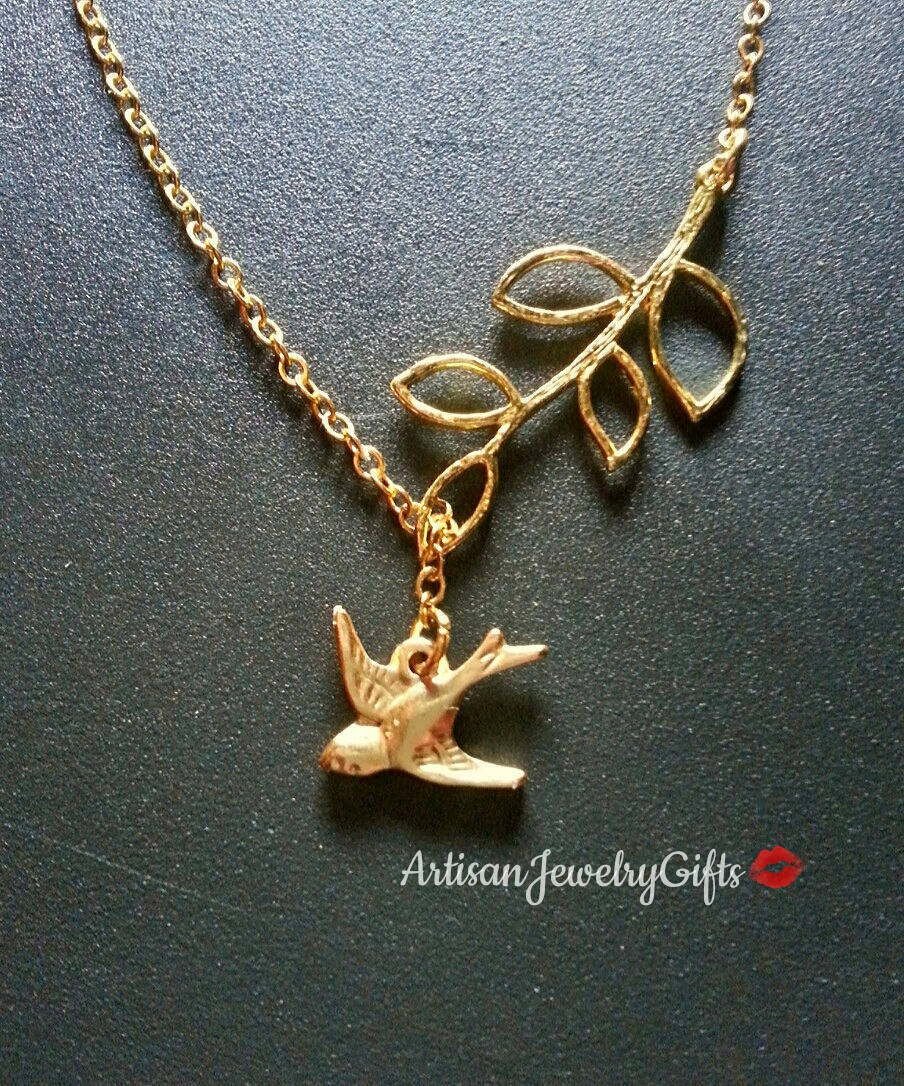 Gold Sparrow Necklace Gold Branch Necklace Gold Bird