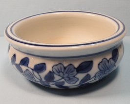 Cobalt Blue Floral Ceramic Lucky Bamboo Planter Pottery Dish Trinket Coi... - $4.95