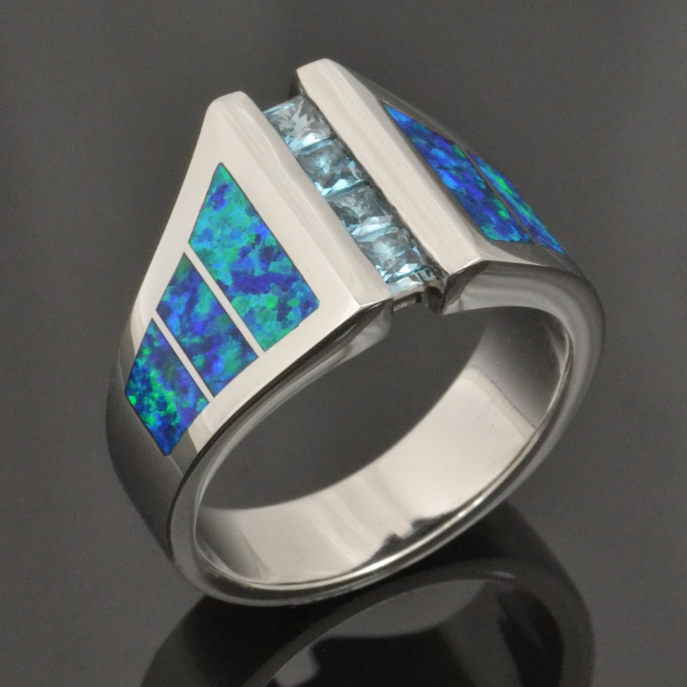 Lab Created Opal and Blue Topaz Ring