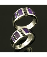 Black Diamond Wedding Ring Set with Sugilite an... - $990.00