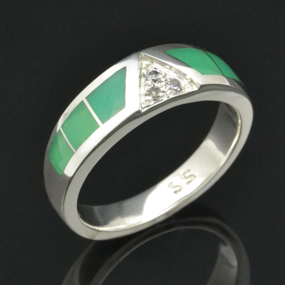 Chrysoprase Ring With White Sapphires in Sterling Silver