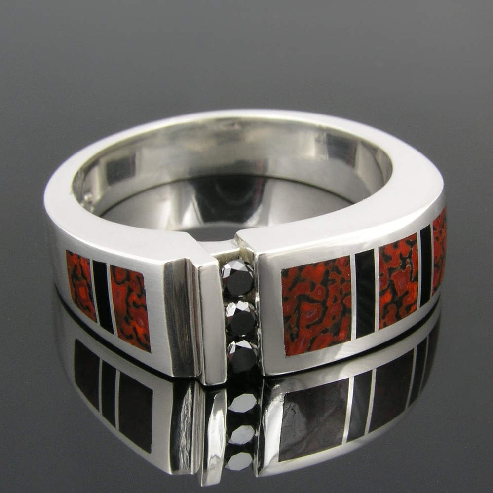 Dinosaur Bone Ring with Black Diamond Ring and Black Onyx in Sterling Silver