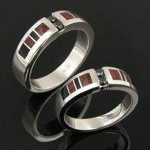 Dinosaur Bone Wedding Ring Set with Black Diamonds and Onyx - $900.00