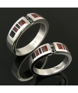 Dinosaur Bone Wedding Ring Set with Black Diamo... - $900.00