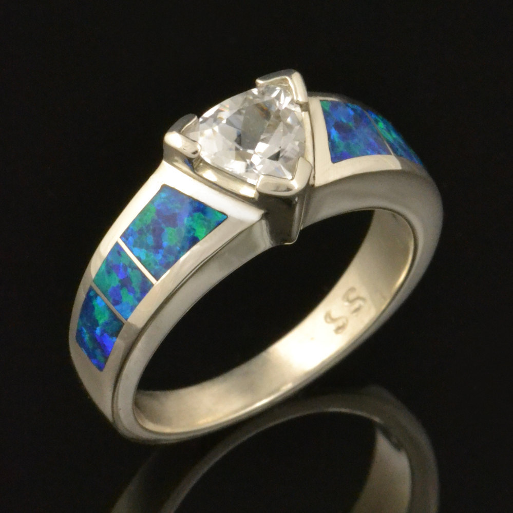 Lab Created Opal Wedding Ring with Trillion White Sapphire - $590.00