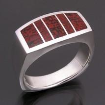 Red dinosaur bone ring in sterling silver - $365.00
