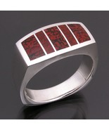 Red dinosaur bone ring in sterling silver - $365.00