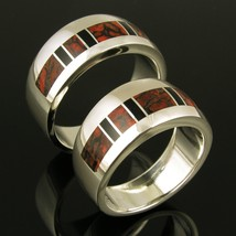 Dinosaur Bone His and Hers Wedding Ring Set by Hileman Silver Jewelry - $795.00