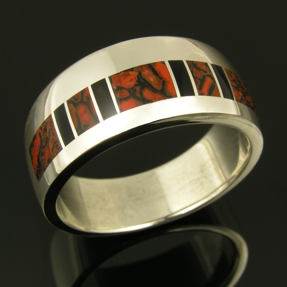 Dinosaur Bone His and Hers Wedding Ring Set by Hileman Silver Jewelry