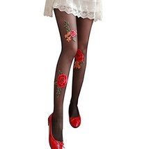 Girls Flowers Pattern Fashion Stockings Tights, Dark BLACK image 2