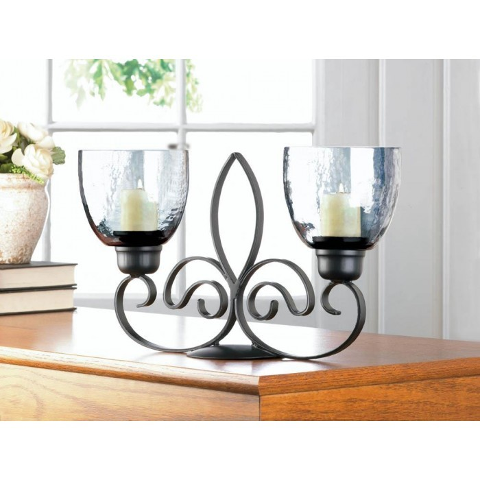 Fleur De Lis Duo Iron Candle Holder