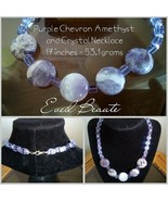 Purple Chevron Amethyst and Crystal Necklace - New - $22.00
