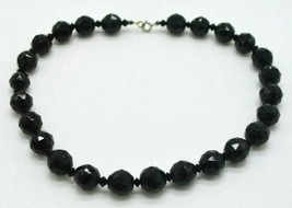 Heavy Faceted Black Glass Bead Beaded Sterling Silver Clasp Choker Necklace - $39.59