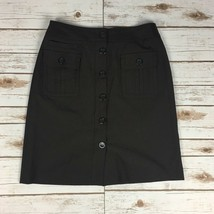 Ann Taylor Button Front Pencil Skirt - Size 4 - Brown - Lined - Patch Po... - $12.19