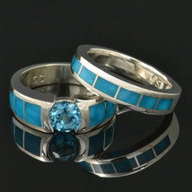 Turquoise and Topaz engagement ring and wedding band set - $800.00