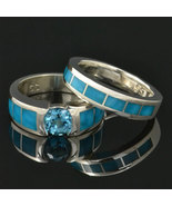 Turquoise and Topaz engagement ring and wedding... - $800.00