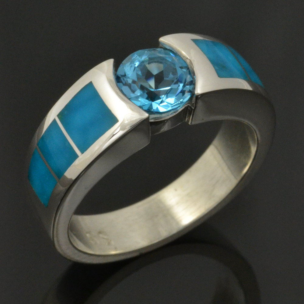 Turquoise and Topaz engagement ring and wedding band set