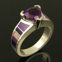 Australian opal, sugilite and amethyst wedding or engagement ring - $550.00