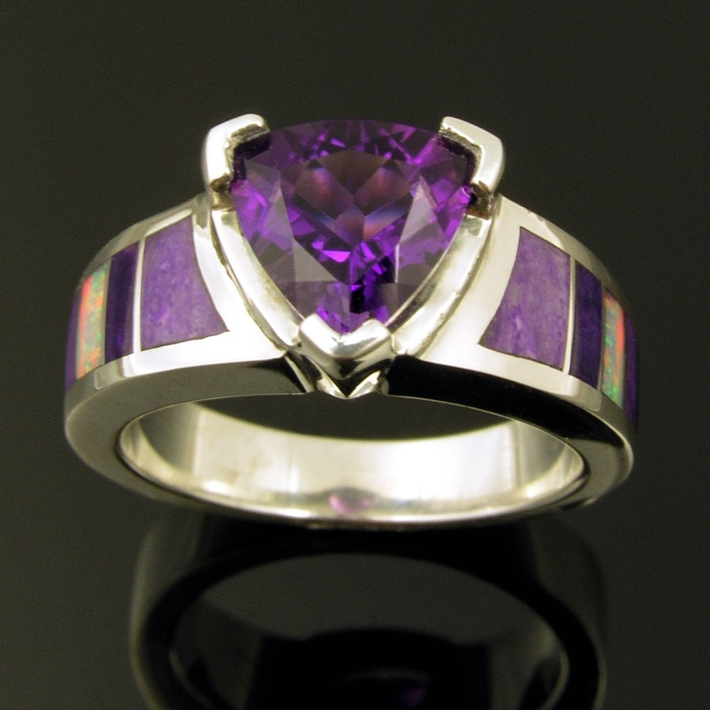 Australian opal, sugilite and amethyst wedding or engagement ring