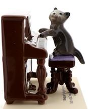 Hagen-Renaker Miniature Ceramic Figurine Keyboard Cat on Bench Playing Piano image 1