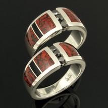 His and Her Dinosaur Bone Wedding Ring Set with Black Diamonds - $990.00