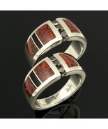 His and Her Dinosaur Bone Wedding Ring Set with... - $990.00