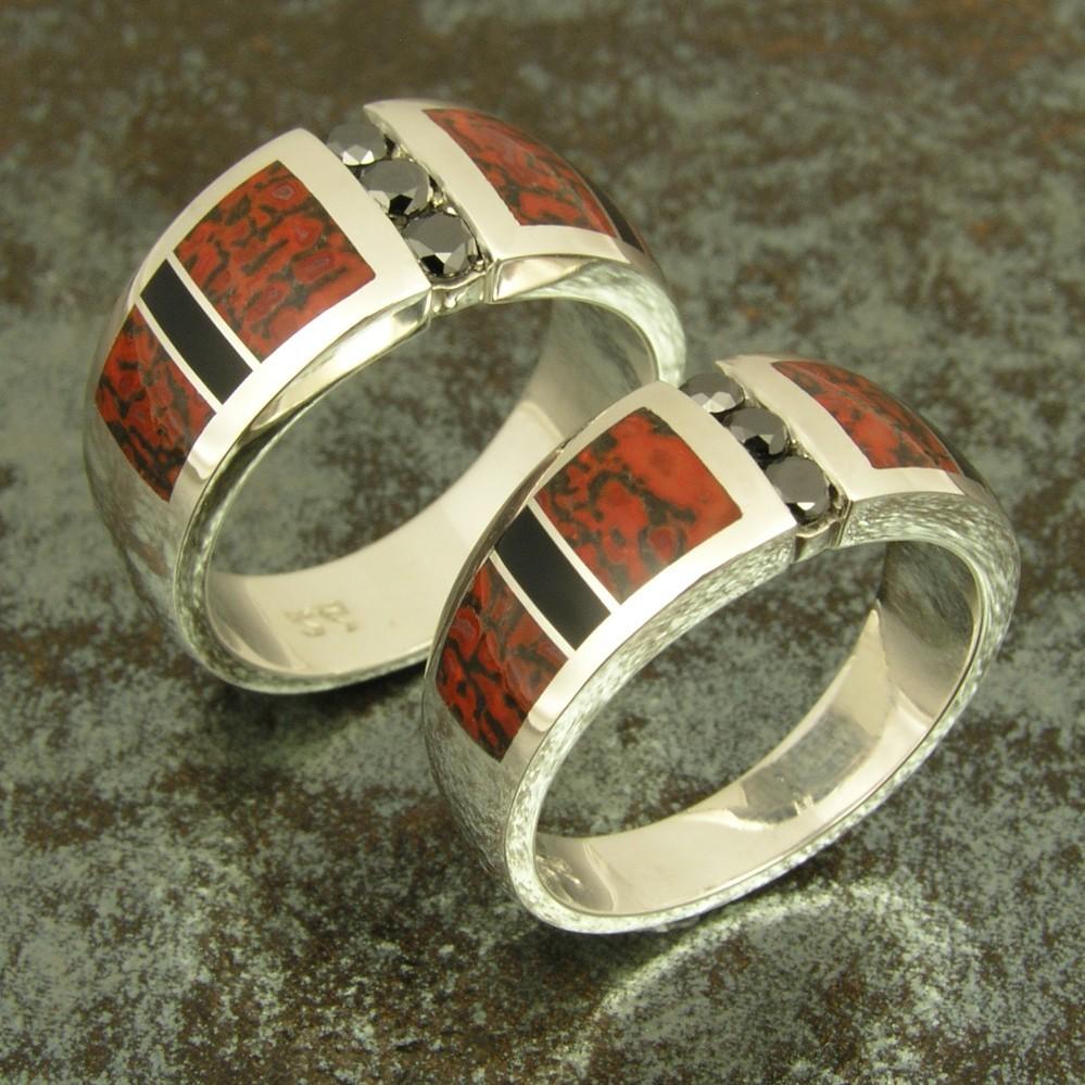 His and Her Dinosaur Bone Wedding Ring Set with Black Diamonds