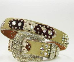 Xs S M L Or Xl Hair Hide Cowpatch Leather Patch Rhinestone Cowgirl Western Belt  - $59.99