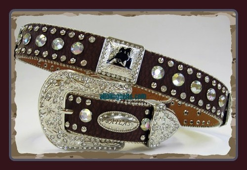 XS S M L or XL SILVER BARREL RACER CONCHO BUCKLE brown WESTERN COWBOY GIRL BELT